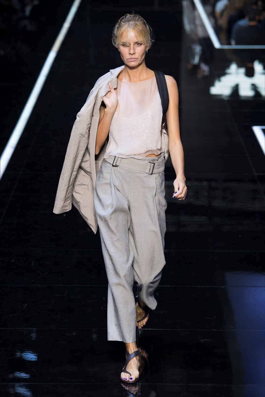 28b2602d Giorgio Armani embraced the sporty looks for Emporio, featuring a long  series of thecnical jumpsuits in a lot of different, very Armanesque  colours, ...