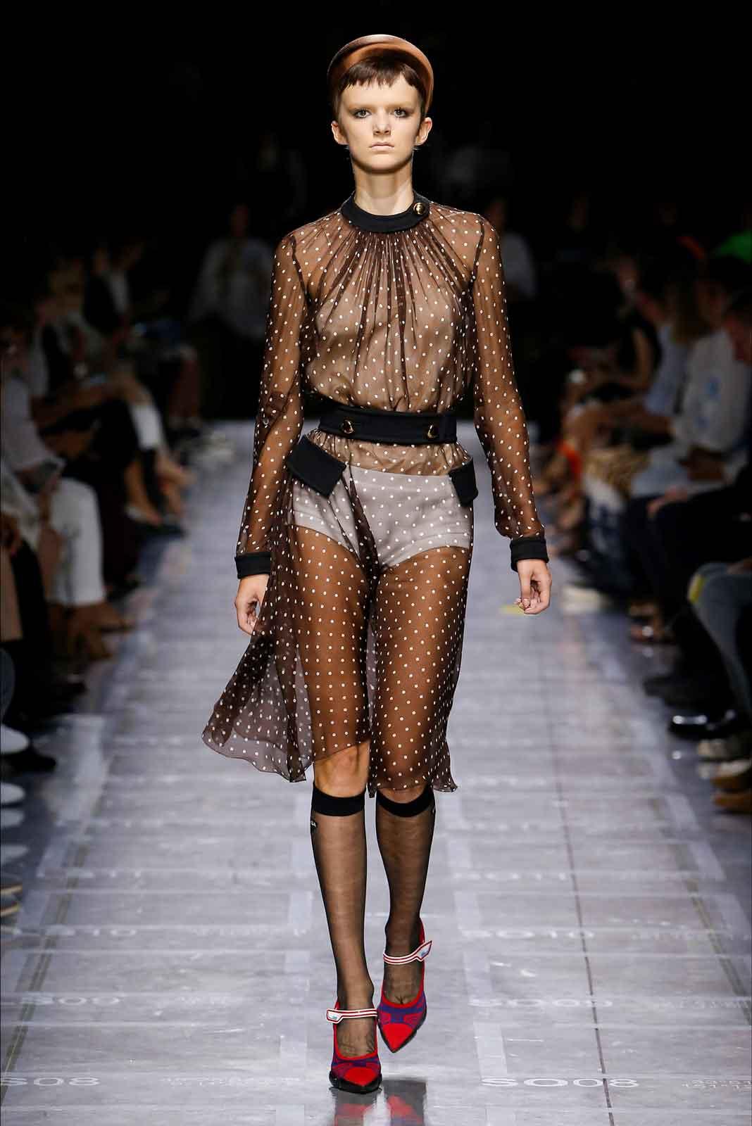 fe330d085595 E' un a collezione per giovani quella presentata da Miuccia Prada per la  primavera/estate 2019: le bluse di chiffon si portano sopra ai costumi da  bagno, ...