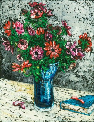 "Natura morta ""vaso di anemoni"" / 1985 / oil on canvas / 45 x 35 cm"