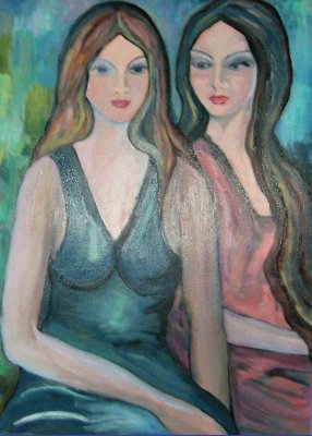 Le amiche / 2011 / mixed media, oil and enamel on canvas / 50 x 70 cm